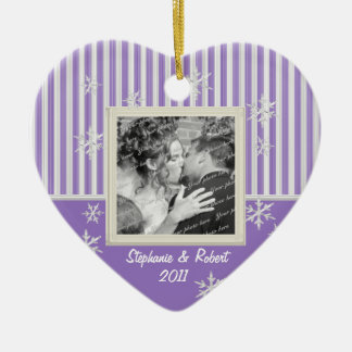 Stripe and Snowflakes Violet Christmas Ornament