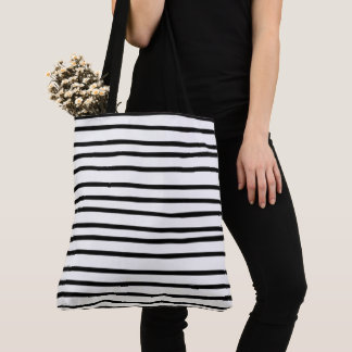 Stripe Black White Skinny Thin Hand Drawn Quirky Tote Bag
