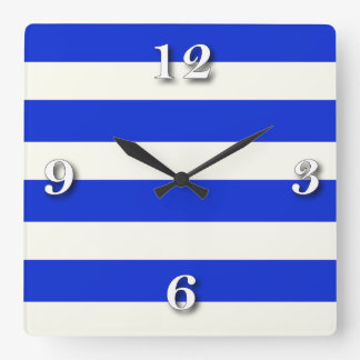 stripe blue white beige.ai square wall clock
