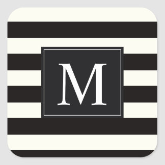 Stripe Bold black and white monogram stripe Square Sticker
