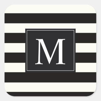 Stripe Bold black and white monogram stripe Square Sticker