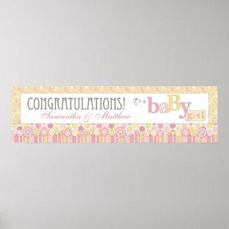 Stripe, Dot, & Diaper Pins Baby Shower Banner Poster