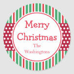 Stripe Dots Holiday Stickers