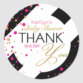 Stripe Gold Glitter Hot Pink Sprinkles Thank You Classic Round Sticker