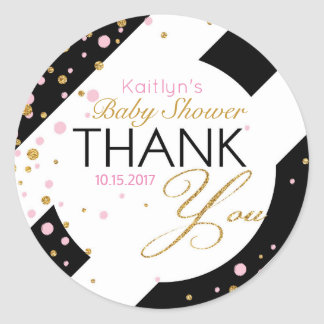 Stripe Gold Glitter Pink Sprinkles Thank You Classic Round Sticker