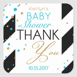 Stripe Gold Glitter Turquoise Sprinkles Thank You Square Sticker