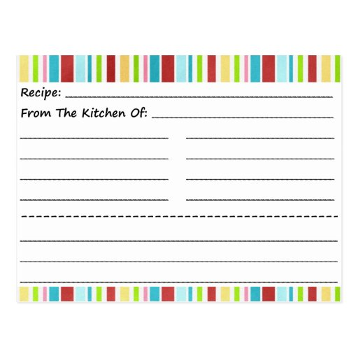 Stripe It Up Blank Recipe Cards Post Cards
