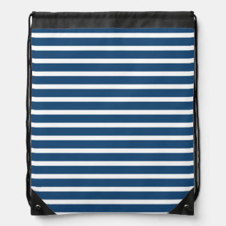 Stripe Navy White Pattern Drawstring Bags
