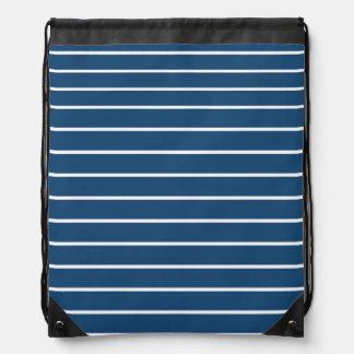 Stripe Navy White Pattern Rucksack