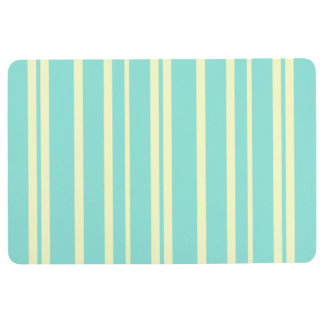 STRIPE PATTERN FLOOR MAT, Pastel Mint & Yellow Floor Mat