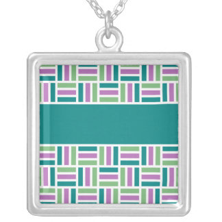 Stripe Pattern necklace, customize Silver Plated Necklace