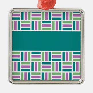 Stripe Pattern ornament, customize Silver-Colored Square Decoration
