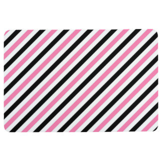 STRIPE PATTERN PILLOW Diagonal Pink, Black & White Floor Mat