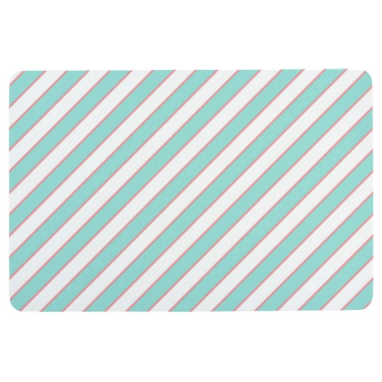 STRIPE PATTERN PILLOW, Mint Peach & White Floor Mat
