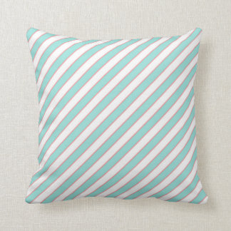 STRIPE PATTERN PILLOW, Mint Peach & White Throw Pillow