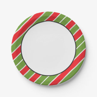 Stripe Pattern | Red, Green and White 7 Inch Paper Plate
