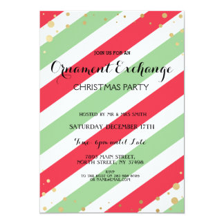Stripe Red and Green Holly Jolly Christmas Invite