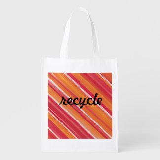 Stripe reusable red bag