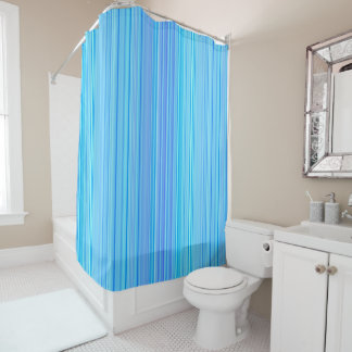 Stripe Striped Stripes Pattern Print Lines Blue Shower Curtain