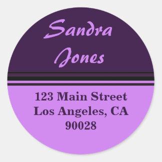 striped address label classic round sticker
