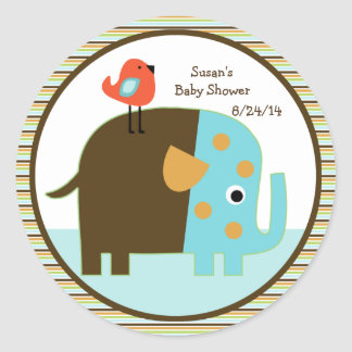 Striped African Elephant Stickers/Cupcake Toppers Round Sticker