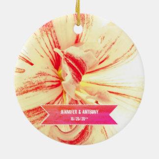 Striped Amaryllis Flower Custom Wedding Christmas Ornament