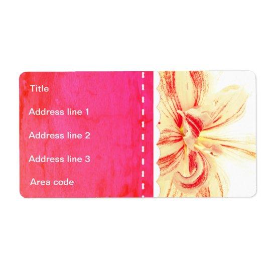 Striped Amaryllis Flower Custom Wedding Shipping Label