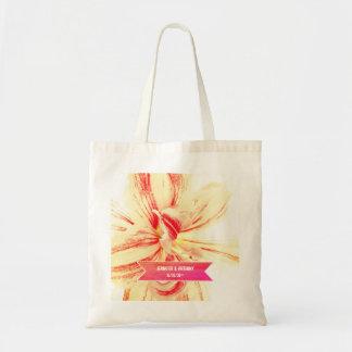 Striped Amaryllis Flower Custom Wedding Tote Bag