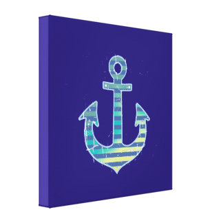 striped anchor blue decorative stretched canvas prints