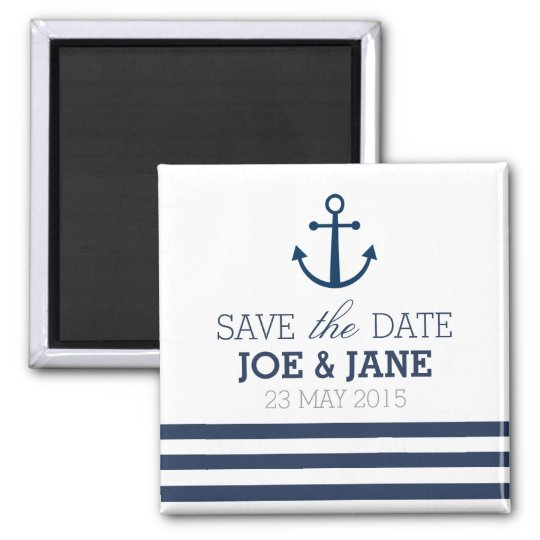 Striped anchor save the date magnet
