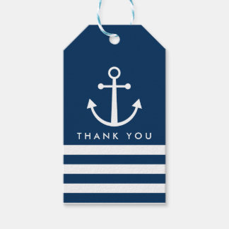 Striped Anchor Thank You Gift Tags