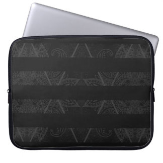 Striped Argyle Embellished Black Laptop Computer Sleeves