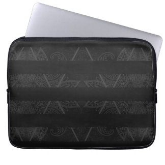 Striped Argyle Embellished Black Laptop Sleeve