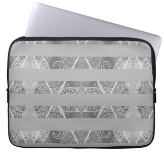 Striped Argyle Embellished Grey Laptop Computer Sleeves
