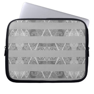 Striped Argyle Embellished Grey Laptop Sleeves