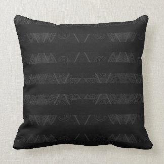 Striped Argyle Embellished Grey Throw Pillow