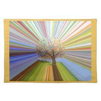 Striped Autumn Tree Art Placemat