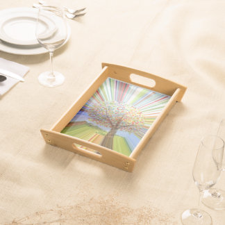 Striped Autumn Tree Art Serving Tray
