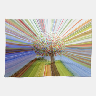 Striped Autumn Tree Art Tea Towel