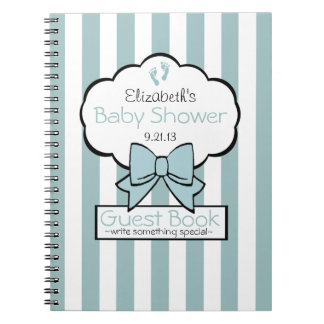 Striped Baby Shower Guest Book- Notebook