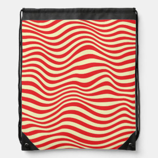 Striped background drawstring bag