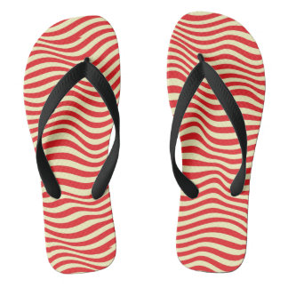 Striped background flip flops