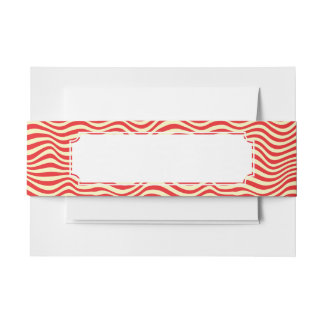 Striped background invitation belly band