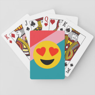 Striped Background Love Emoji Playing Cards