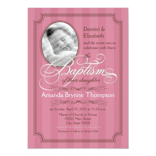 Striped Baptism Invitation (Dark Pink)