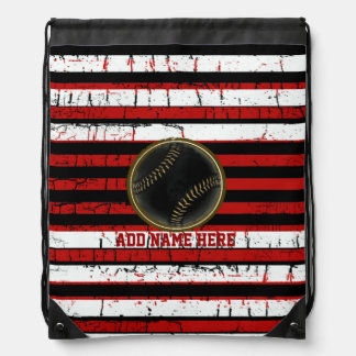 striped baseball sport personalized cinch bags