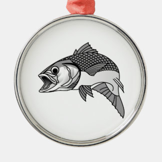 Striped Bass Silver-Colored Round Decoration