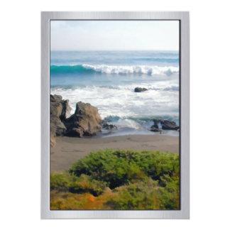 Striped Beach of Evergreens Sand Rocks and Ocean 13 Cm X 18 Cm Invitation Card