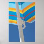 Striped Beach Umbrella Poster