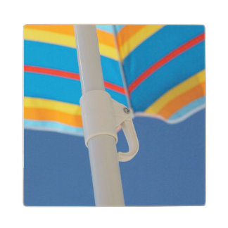 Striped Beach Umbrella Wood Coaster